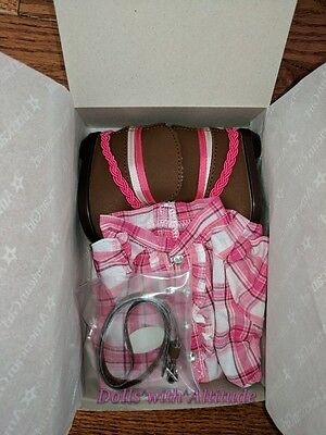 American Girl Doll Pink Western Plaid Outfit Cowgirl Dress Boots New In Box