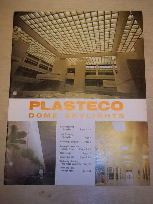 Vtg Plasteco Inc Catalog~Dome Skylights/Vents