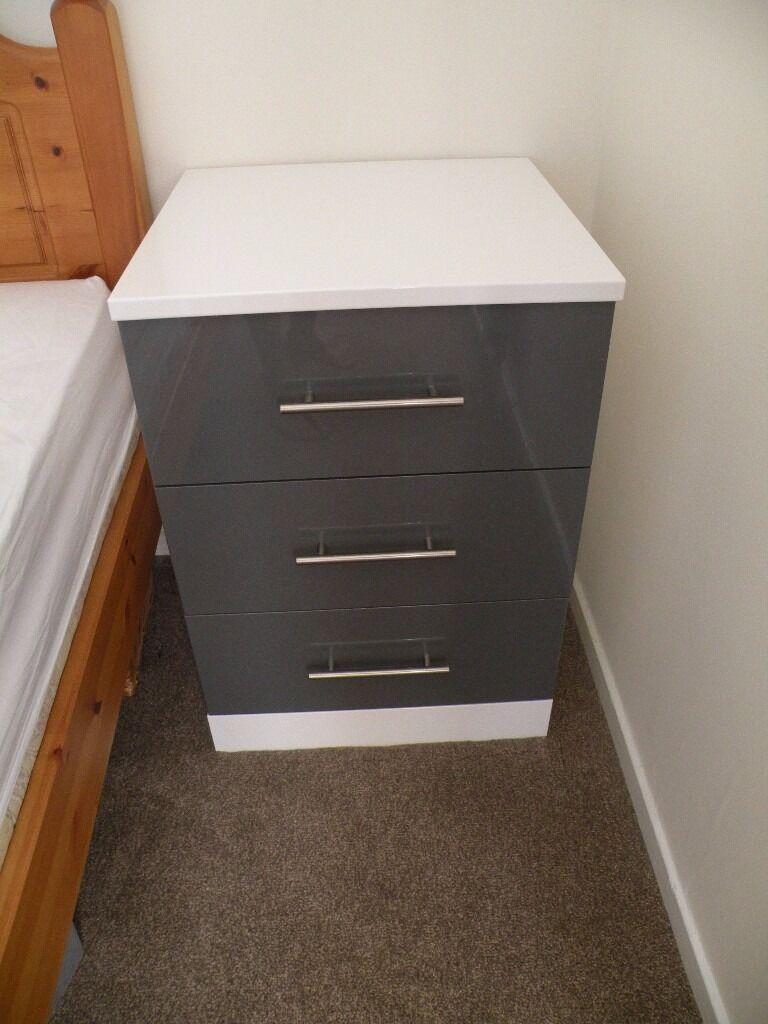 two bedside cabinets tables chest of drawers gloss ivory with