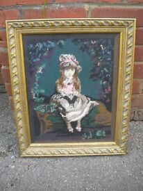A BEAUTIFUL GILT FRAMED TAPESTRY OF A YOUNG GIRL 21X17 INCHES