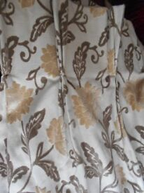 "pair of heavy triple pleat curtains cream & taupe 90 "" drop"