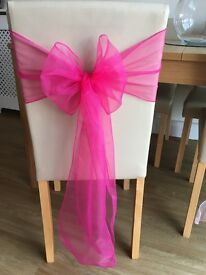 Fuschia pink organza sashes