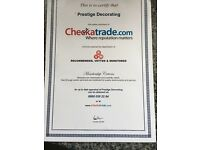 Member of Checkatrade. Prestige decorating Painting, decorating, plastering free no obligation quote