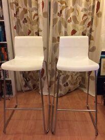 2 IKEA Glenn bar stools white