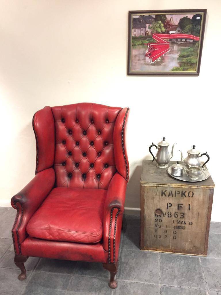 Red Vintage Chesterfield Wingback Armchair