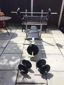 DP Fitness weight bench with leg ext, 108.5 KG weight plates, 1 barbell & 2 dumbbells