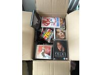 LARGE BOX OF DVDS, GAMES, CDS AND FEW NEW BOOKS GREAT FOR BOOTSALE