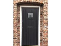 Black Solid wood Front door with privacy glass window