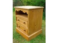 Solid pine bedside storage cabinet / unit / drawers - dovetail joints