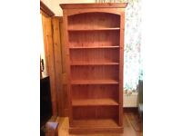 Pine Bookcase with adjustable shelves, 6.5ft tall, in excellent condition / pine book shelf