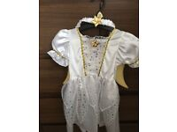 LITTLE GIRLS WHITE ANGEL COSTUME WITH GOLD WINGS SIZE 2-3