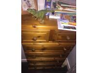 Antique Pine Set of Bedroom Drawers