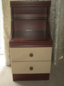 BEDSIDE OR FREESTANDING UNIT WOOD WITH GLASS ON TOPS AND SHELF.MAYBE SHABBY CHIC PROJECT.