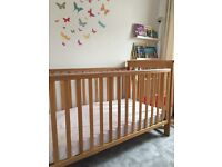 John Lewis Lasko Oak Cotbed and Mattress- £150 o.n.o (collection only)