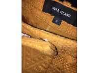 Size 8 river island shorts, mustard embroider cotton