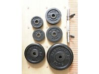Steel Weight Plates & Dumbbell Bar 45kg total 12 Plates