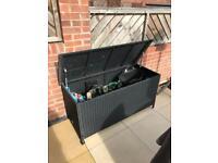 Storage Box Garden Rattan Furniture Wheels Chest Trunk Indoor Outdoor Organizer