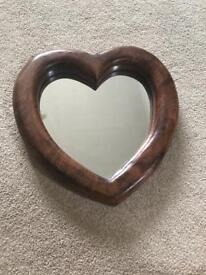 Heart shaped mango wood mirror