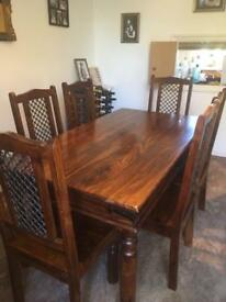 Sheesham Jali Indian Rosewood dining table & 6 chairs.
