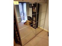 Large Wardrobe Sliding Mirror Doors / Drawers / Light Oak Colour / IKEA PAX
