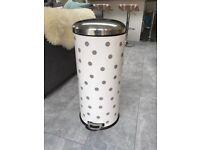 Cream Polkadot Cylindrical Pedal Bin