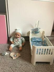 Baby Annabell Boy Doll and Blue Bed