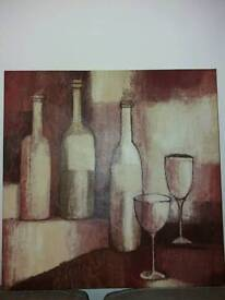 Large Wine bottles & glasses wall canvas picture