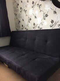 Sofa bed black faux suede