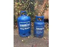 Calor butane gas bottles - 15kg with some left and 7kg empty