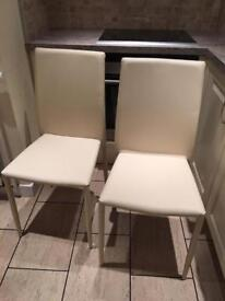 2 x Faux Leather Dining Room Kitchen Chairs
