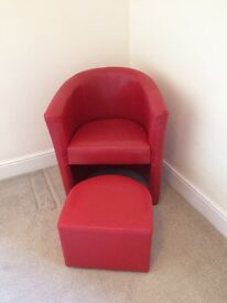 Red tub chair and stool