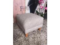 New Marks and Spencer Footstool In Beige/grey Textured Weave