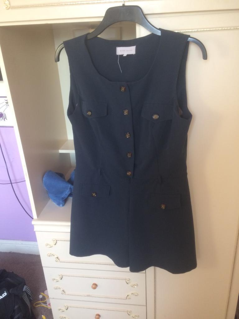 Navy blue play suit rover island size 16