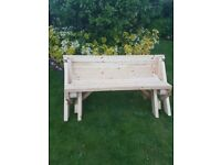 Garden bench to picnic table