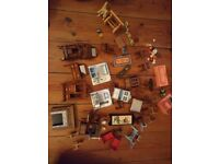 Dolls house furniture (wooden and plastic)