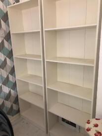 2 white ikea bookshelves