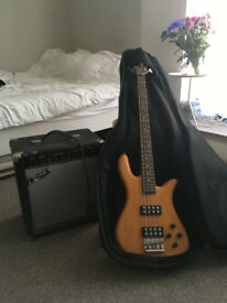 Wesely Monarch Bass Guitar + Crafter Amp, padded deluxe gig bag, strap and cable.