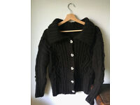 Hand cable knitted, 100% wool cardigan