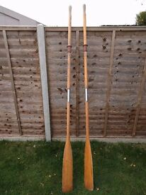 Pair of wooden oars