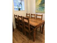 Solid Wood Dining Table, Six Chairs and matching Coffee Table.