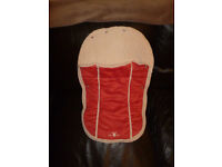 Wallaboo - New born footmuff, Red / Cream in colour