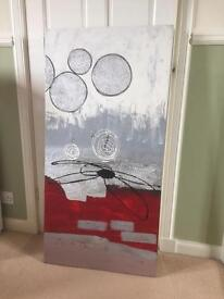 Painting, hand done, red/white/grey/black
