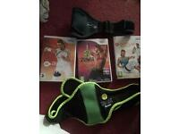 Nintendo Wii EA Active and EA Active More Workouts Games With Knee Strap and Zumba With Belt