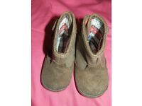 Mothercare soft brown suede baby boots uk size 2