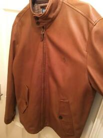 Men's polo Ralph lauren brown leather jacket for sale like new