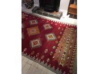 Large colourful vintage handmade flatweave Afghan kilim rug