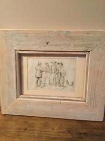 Framed Frank Ware original pencil drawing ( not a print ) of four peasants passing the time of day