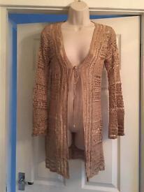 Principles crochet cardigan gold/beige