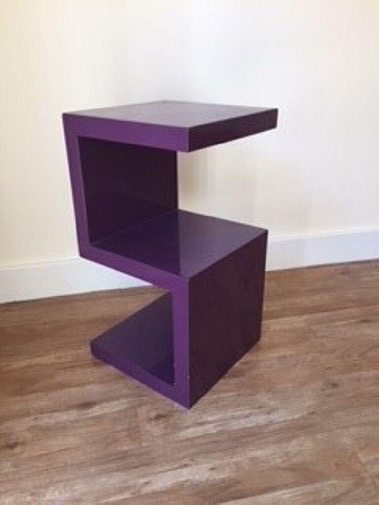 Purple S Shaped Side Table
