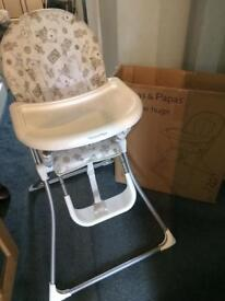 Fold flat High Chair - Mamas & Papas (immaculate condition)